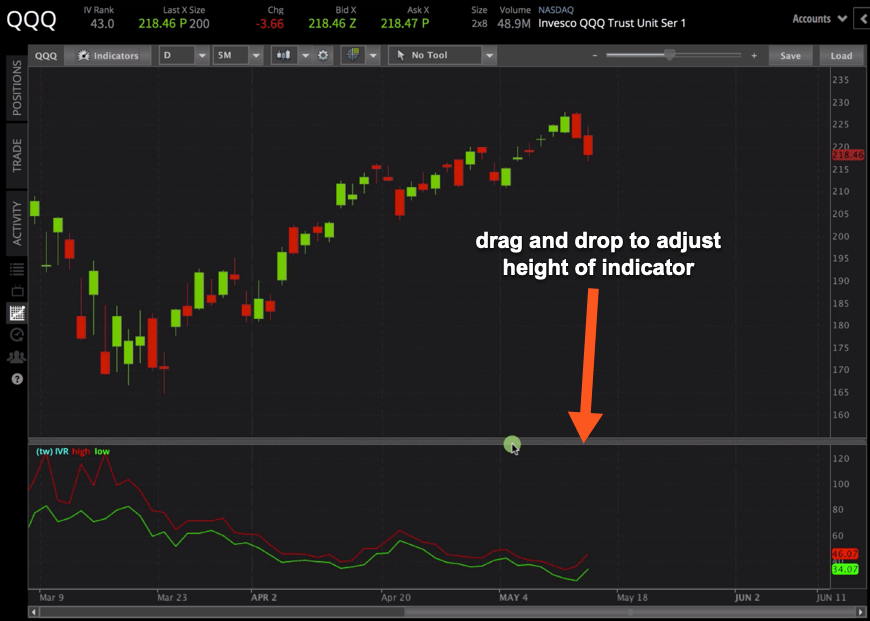 Adjusting the height of indicator